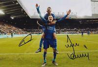 Riyad Mahrez and Jamie Vardy Hand Signed 12x8 Photo - Leicester City Autograph 1