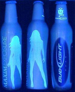 2006 MAXIM EXPOSURE 3.2% BLACK-LIGHT BUD LIGHT ALUMINUM BEER BOTTLE BUDWEISER