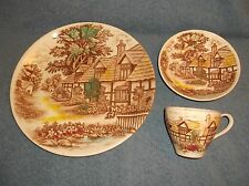 """VINTAGE WORLD WIDE QUALITY ENGLISH COTTAGE JAPAN - 10"""" PLATE - BOWL & CUP - NICE"""