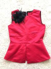 Zara Zip Back Red Peplum Top Black Feathered Clip On Brooch Drama Festive NWOT