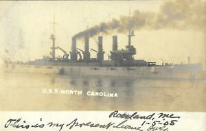 1908 Vintage Naval Postcard, USS North Carolina