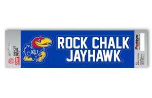 "Kansas Jayhawks Set of 2 Die Cut Decal Slogan Stickers ""Rock Chalk Jayhawk"""