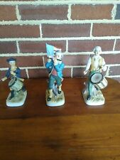 Lefton Revolutionary War figurines Set of 3 Flag And Fifer and Two Drummers.