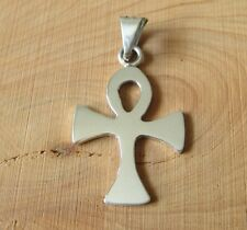 Mexican 925 Silver Taxco Shiny Polished Christian Cross Egyptian Unisex Pendant