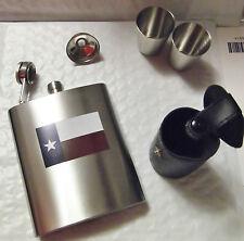 TEXAS FLAG STAINLESS STEEL WHISKEY HIP FLASK GIFT SET - LONESTAR DRINKING