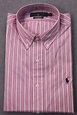 RALPH LAUREN Mens PINK w WHITE STRIPE CUSTOM FIT PONY DRESS SHIRT NWT 16  32/33