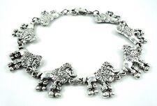 8.25 inch cute Poodle Lovers antique silver plated Bracelet 21 cm