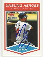 MATT LeCROY Autographed Signed 2004 Fleer Platinum card Minnesota Twins COA