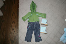 American Girl Blue Flower Jeans Green Jacket Blue Boots Outfit Uggs
