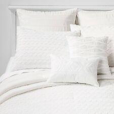 8pc King Mia Clip Jacquard Comforter Set White - Threshold
