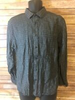 Mens UNTUCKit Long Sleeve Shirt Size Large Linen Gray Plaid L/S Button Front L/S