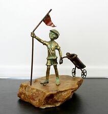 Mid Century Modern Brass Stone Sculpture Signed Bijan Jere Era 1970s Golf Caddy