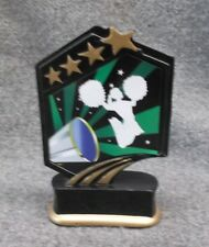 cheerleading statue trophy resin green stars Gsr04