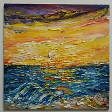 1e58c7f7d9 Neues AngebotÖlbild Gemälde Ölgemälde Landschaft Unikat 20x20 Original neu  Abend am Meer