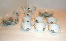 Vintage Childs Tea Set 23 Pieces China Girl Butterfly Coach Flowers Japan