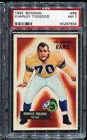 1955 Bowman Football #89 CHARLIE TOOGOOD RC Rookie Los Angeles Rams PSA 7 NM