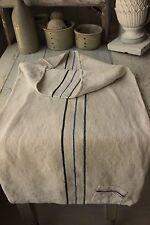 GRAIN SACK hemp linen grainsack BLACK blue stripes PATCHED TIMEWORN textile old