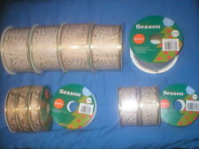 New listing Gold Leaves Sheer White Wired Craft Ribbon Lot Of 12 Rolls Varied Sizes