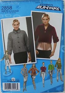 Simplicity 2858 Misses Lined Jackets Variations Sewing Pattern Sz 12-20
