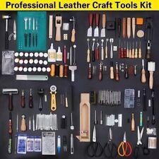 59PCS Professional Leather Craft Tools Kit Sewing Working Knife Hand DIY Kit Set