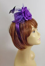 PURPLE MINI SPARKLING HAT HEADBAND FLOWER LADIES OF SOCIETY DERBY DAY OR CHURCH