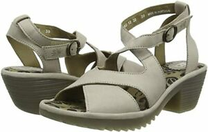 FLY LONDON WAFE152FLY GREY CLOUD LEATHER SANDALS UK 7 EUR 40 USA 9 BNIB RRP £115