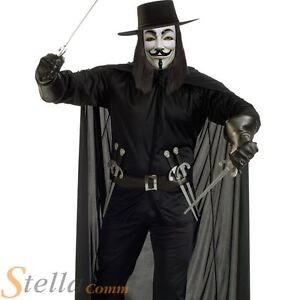 Mens Deluxe V For Vendetta Costume Halloween Fancy Dress Outfit With Hat + Mask