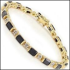 Tennis Bracelet 16 Real Black Sapphire Baguettes & 16 Real Diamonds, 7""