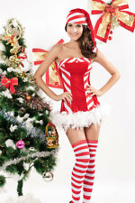 Santa Candy Cane North Pole Christmas Holiday Dress Red Velvet Costume 7165