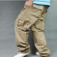 Men's Long Pants Loose Cargo Baggy Carpenter Overall 100% Cotton Trousers Yoooca