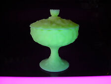ViNTaGe FENTON Yellow VASELINE ArT GLaSs WaTeRLiLy Candy Dish~Bowl~Compote w/Lid