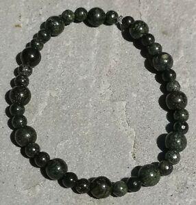"Genuine Natural Serpentine Beaded Stretchy Bracelet - approx.19.5cm (7.5"")"