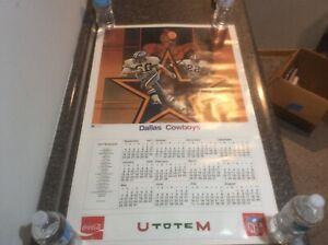 VINTAGE Coca Cola Original 1977 NFL POSTER Dallas Cowboys Calendar & Schedule
