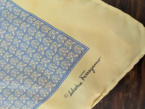 Salvatore Ferragamo Silk Pocket Square, Handkerchief Made in Italy.