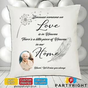 Personalised Memory Memorial Cushion Cover Heaven In Our Home (CC5)