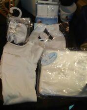 Baby Christening Blanket Bib Shoes Socks & Body Suit White Embroidered Cross New
