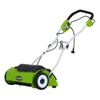 Greenworks 27022 10 Amp 14 in. 3-Position Steel Blade Electric Dethatcher New