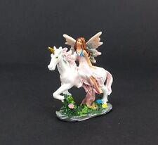 "Mini Fairy in Pink Dress Riding Unicorn Figurine Miniature 3"" Mythical Statue"