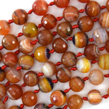 "10mm faceted orange stripe agate round beads 15"" strand"