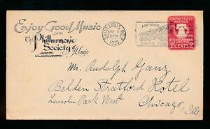 MUSIC 1930 POSTAL STATIONERY ILLINOIS PHILHARMONIC SOCIETY...AIRMAIL SLOGAN