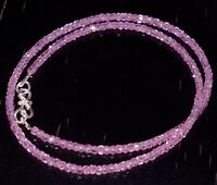 "925 Sterling Silver 12-40"" Strand Necklace Pink Zircon 3 mm Round Beads GF06"