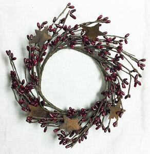 "Wreath Candle Ring 4"" Diameter - Pip Berry in Burgundy - Rusty Tin Stars"