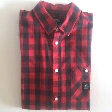 WESC RED BLACK BUFFALO CHECK PLAID MENS LIGHTWEIGHT COTTON SHIRT SZ.S BRAND NEW