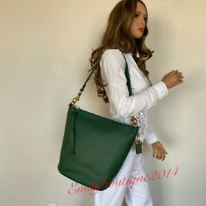 NWT COACH 1941 ARCHIVE DUFFLE HUNTER GREEN LEATHER SHOULDER BAG 78803
