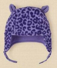 The Children's Place NWT Baby Girl Hula/Purple Leopard Fleece Hat Sz 12-18Mos.