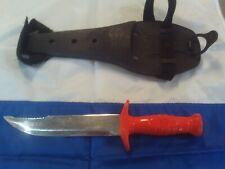 Vintage Sportsways Scuba Diving Knife U.S Made Scuba Fishing Orange Handle 12""