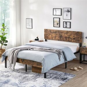 Full/Queen Size Kid Metal Platform Bed Frame with Wooden Headboard Vintage Style
