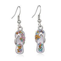 Multi-Color Flip-Flop Fashionable Earrings - Fish Hook - Sparkling Crystal