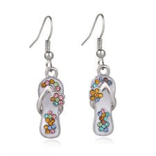 Multi-Color Flip-Flop Fashionable Earrings - Fish Hook - Sparkling Crystal