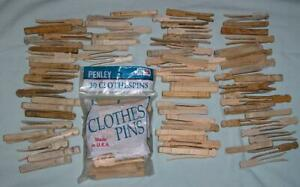 LOT 115 VTG WOODEN CLOTHESPINS, FLAT, NEW PENLEY & OLD WEATHERED